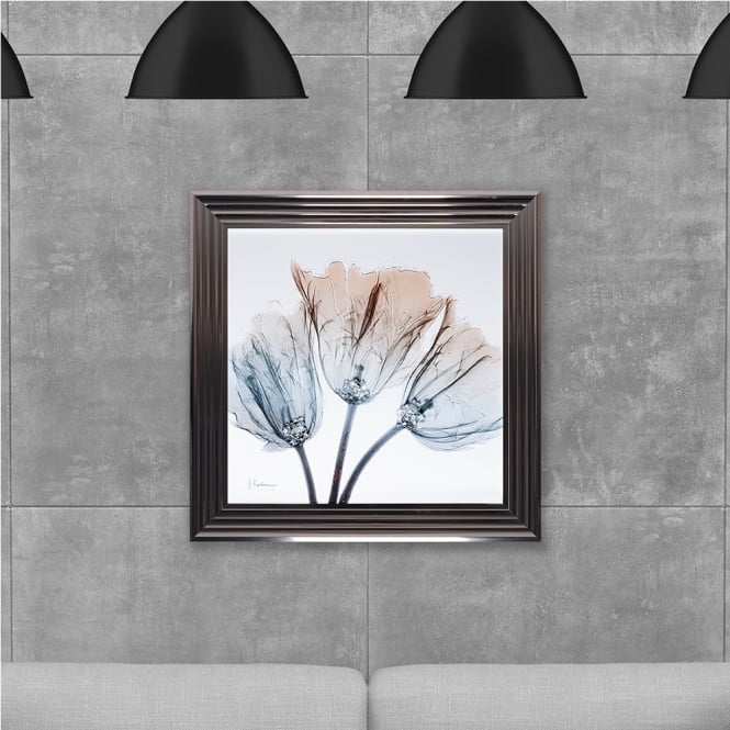 SHH Interiors Framed Flowers 2 Hand Made with Liquid Glass and Swarovski Crystals 75 x 75 cm