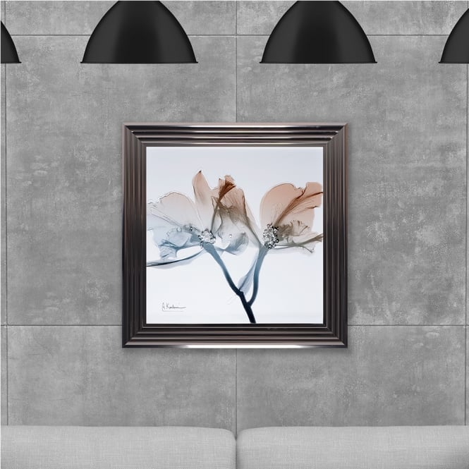 SHH Interiors Framed Flowers Hand Made with Liquid Glass and Swarovski Crystals 75 x 75 cm