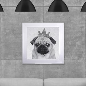 Framed Pug Hand Made with Liquid Glass and Swarovski Crystals 75 x 75 cm