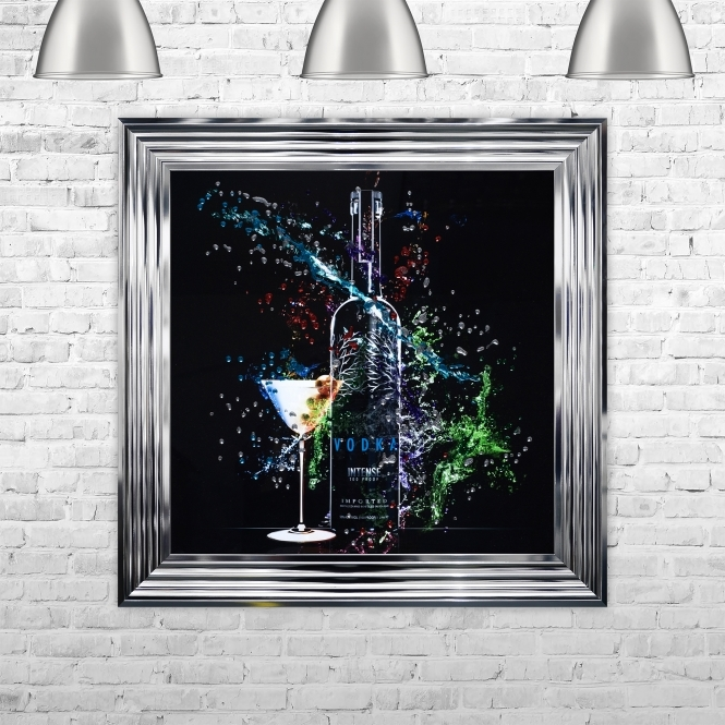SHH Interiors Framed Vodka Bottle Hand Made with Liquid Art and Glitter 75 x 75 cm