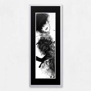 Framed Woman with Liquid Glass and Swarovski Crystals 40 x 100cm