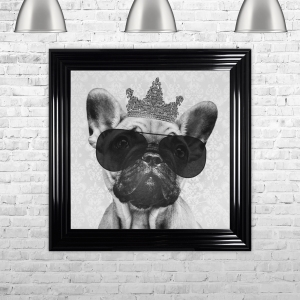 French Bulldog with Crown Hand Made with Liquid Glass and Swarovski Crystals 75 x 75 cm