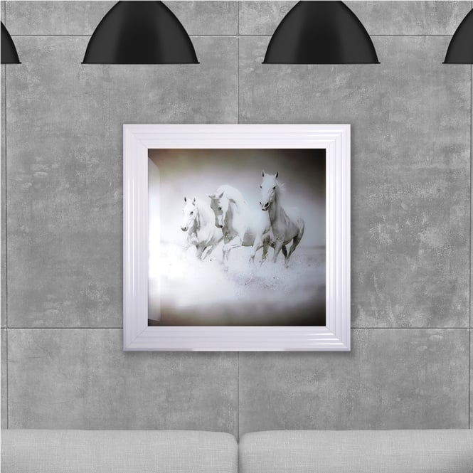 SHH Interiors Galloping horses Hand Made with Liquid Glass and Swarovski Crystals 75 x 75 cm