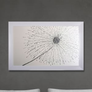 Glitter Silver Dandelion Hand Made with Liquid Glass and Swarovski Crystals 114 x 74 cm