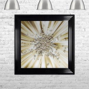Gold Blast Framed Liquid Artwork with crushed glass and Swarovski Crystals