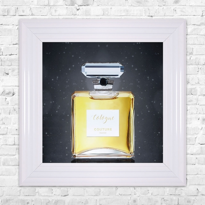 SHH Interiors Gold Cologne Perfume Print Framed Liquid Artwork and Swarovski Crystals