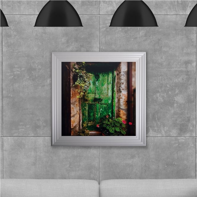 SHH Interiors Green Door Hand Made with Liquid Glass and Swarovski Crystals 75 x 75 cm