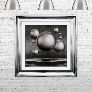 Grey Orbs Spheres Glitter Liquid Art | 75cm x 75cm