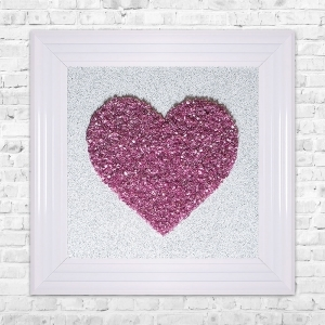Heart Pink Cluster Framed Liquid Artwork and Swarovski Crystals