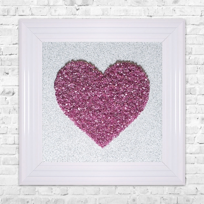 SHH Interiors Heart Pink Cluster Framed Liquid Artwork
