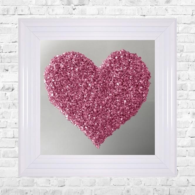 SHH Interiors Heart Pink Cluster on Mirror Framed Liquid
