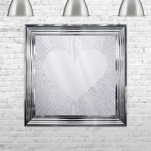 Heart Silhouette Mirror with Glitter Liquid Art | LIQUID ART | 75cm x 75cm