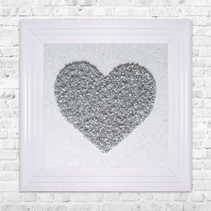 Heart Silver Cluster Framed Liquid Artwork and Swarovski Crystals