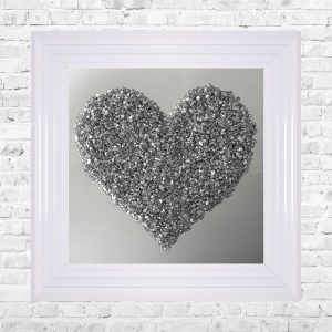 Heart Silver Cluster on Mirror Framed Liquid Artwork and Swarovski Crystals
