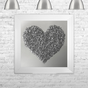 Heart Silver Cluster on Mirror Framed Liquid Artwork