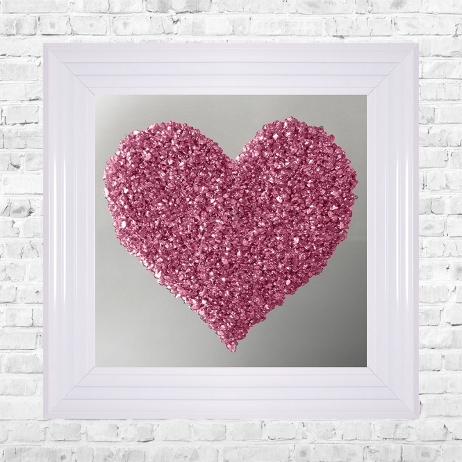 SHH Interiors Heart Silver Crushed Glass Cluster on Mirror Framed Liquid Artwork