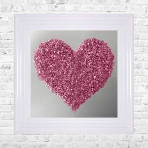 Heart Silver Crushed Glass Cluster on Mirror Framed Liquid Artwork
