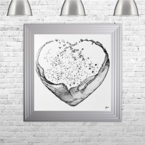 Heartsplash Silver White Framed Liquid Artwork with crushed glass and Swarovski Crystals