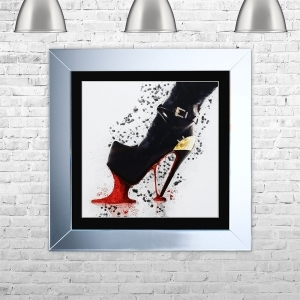 HEELS GUM Framed Liquid Artwork and Swarovski Crystals | 75cm x 75cm