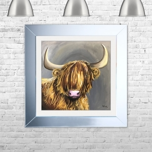 Highland Cow Framed Liquid Artwork