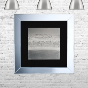 HORIZON-BLK-GSIL Framed Liquid Artwork and Swarovski Crystals | 75cm x 75cm