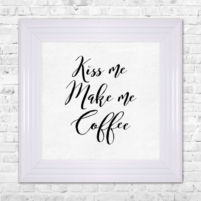 SHH Interiors KISS ME MAKE ME COFFEE Print Framed Liquid Artwork and Swarovski Crystals