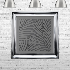 LEAVES SILHOUETTE GREY | FRAMED 3D TEXT ARTWORK | 75cm x 75cm