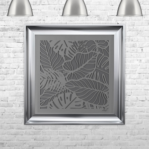 LEAVES2 SILHOUETTE GREY | FRAMED 3D TEXT ARTWORK | 75cm x 75cm