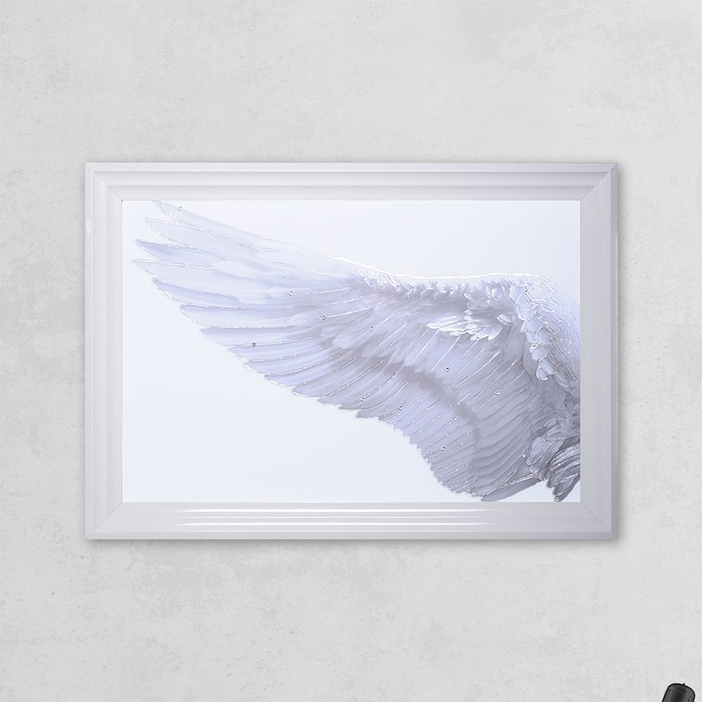 Wall Art Glass Framed : Shh interiors left framed angel wing print with liquid