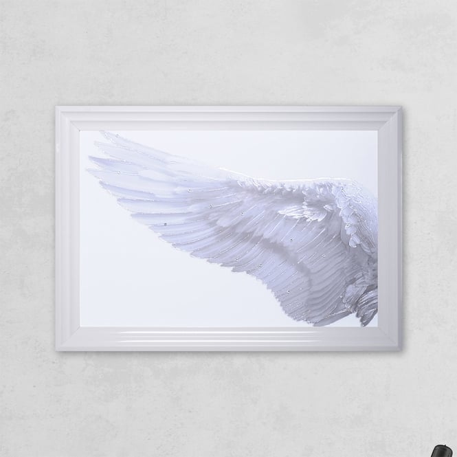 SHH Interiors Left Framed Angel Wing Print with Liquid Glass and Swarovski Crystals 48 x 68 cm