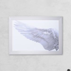 Left Framed Angel Wing Print with Liquid Glass and Swarovski Crystals 48 x 68 cm
