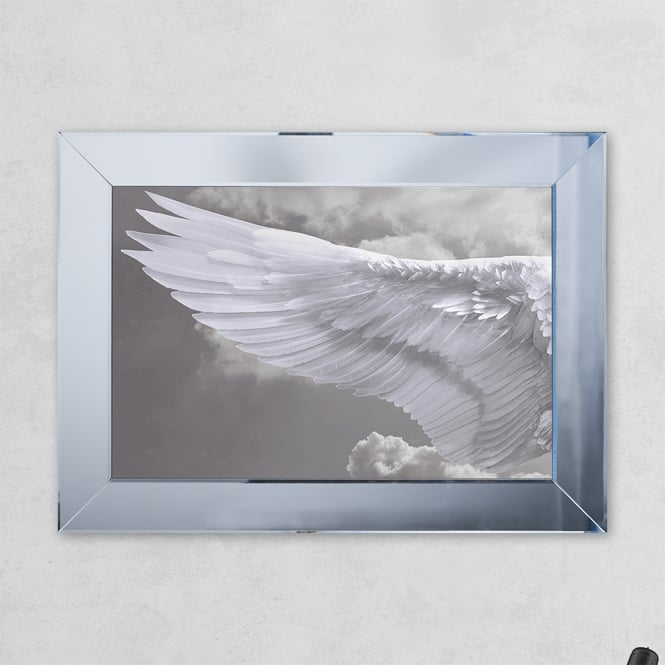 SHH Interiors Left Wing Cloud Print Mirror with Liquid Glass and Swarovski Crystals 54 x 74 cm