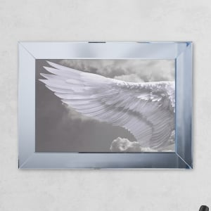 Left Wing Cloud Print Mirror with Liquid Glass and Swarovski Crystals 54 x 74 cm