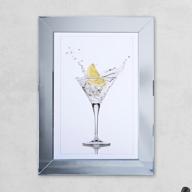 SHH Interiors Lemon Glass Print Mirror with Liquid Glass and Swarovski Crystals 54 x 74 cm