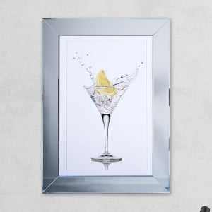 Lemon Glass Print Mirror with Liquid Glass and Swarovski Crystals 54 x 74 cm