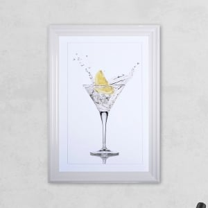 Lemon Glass Print with Liquid Glass and Swarovski Crystals 48 x 68 cm