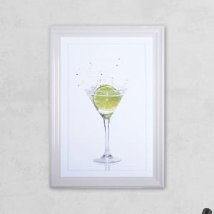 Lime Glass Print with Liquid Glass and Swarovski Crystals 48 x 68 cm