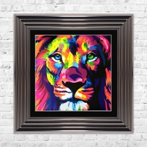Lion Print Framed Liquid Artwork and Swarovski Crystals