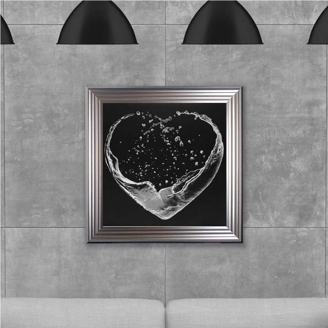 SHH Interiors Liquid Heart Grey Hand Made with Liquid Glass and Swarovski Crystals 75 x 75 cm