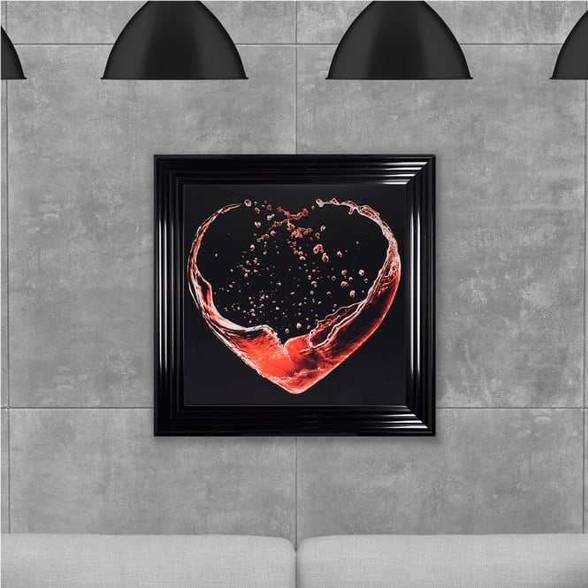 SHH Interiors Liquid Heart Printed Glass Hand Made with Liquid Glass and Swarovski Crystals 75 x 75 cm