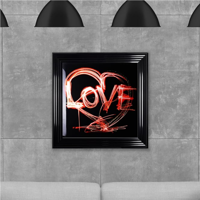 SHH Interiors Liquid Love Printed Glass Hand Made with Liquid Glass and Swarovski Crystals 75 x 75 cm