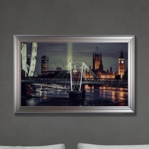 London Print Hand Made with Liquid Glass and Swarovski Crystals 114 x 74 cm
