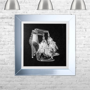 London Shoe Black Framed Liquid Artwork and Swarovski Crystals