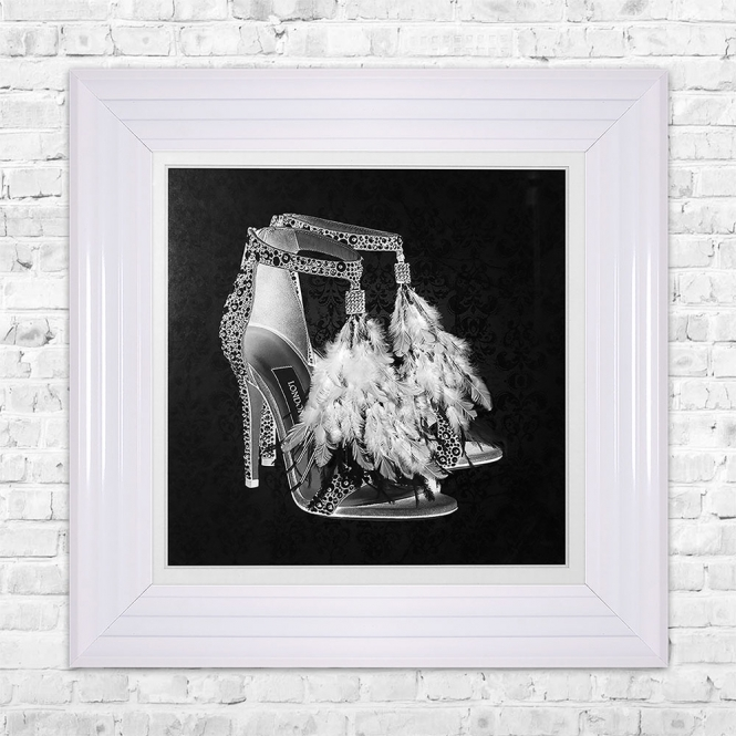 SHH Interiors LONDON SHOE Black Print Framed Liquid Artwork and Swarovski Crystals