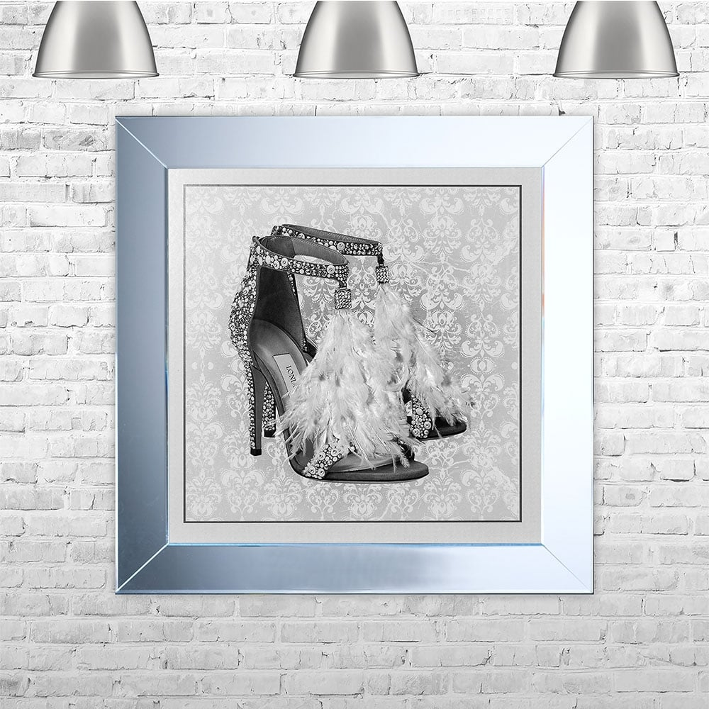 London Shoe White Framed Liquid Artwork with Swarovski Crystals