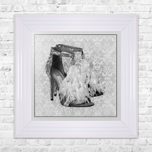 LONDON SHOE White Print Framed Liquid Artwork and Swarovski Crystals