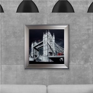 London Tower Print Hand Made with Liquid Glass and Swarovski Crystals 75 x 75 cm