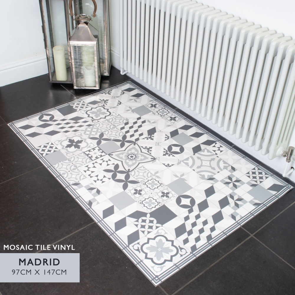 Madrid Mosaic Tile Vinyl Floor Decor 97CM X 147CM