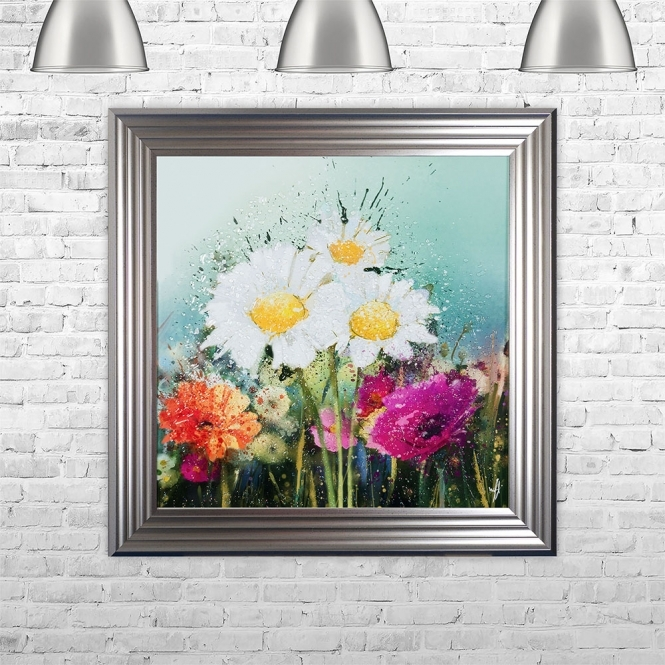 SHH Interiors Meadow Flowers Liquid Art | 75cm x 75cm