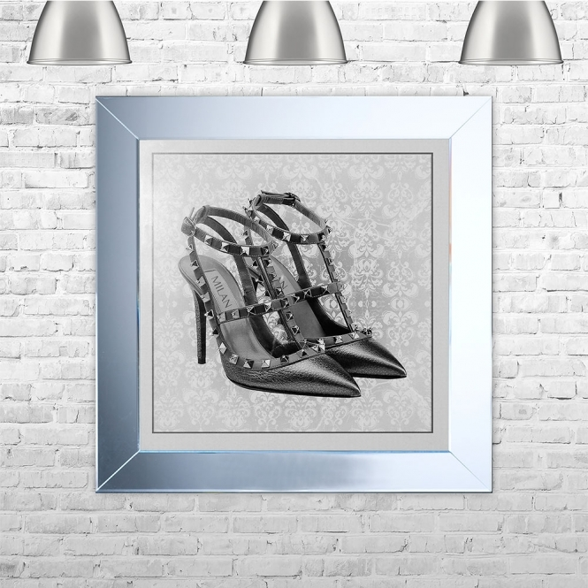 SHH Interiors Milan Shoe White Framed Liquid Artwork and Swarovski Crystals